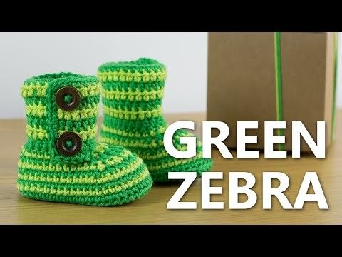Crochet Baby Booties Green Zebra | Pinterest | Stricken und häkeln ...