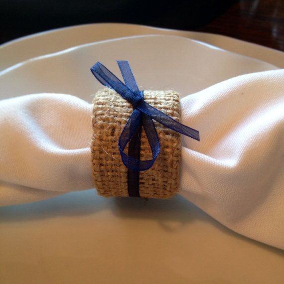 8 Shabby Chic Burlap and Navy Wedding Napkin Rings Burlap and