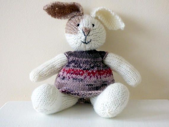 Knitting Easter Bunnies : Knitted easter bunny in soft baby alpaca yarn hand
