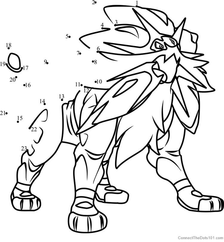 Solgaleo Pokemon Sun And Moon Dot To Dot. DOWNLOAD PICTURE