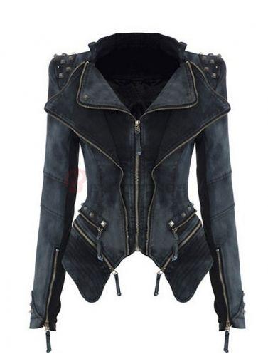 Lapel Rivet Zipper Slim Denim Coat Women Jackets on buytrends.com