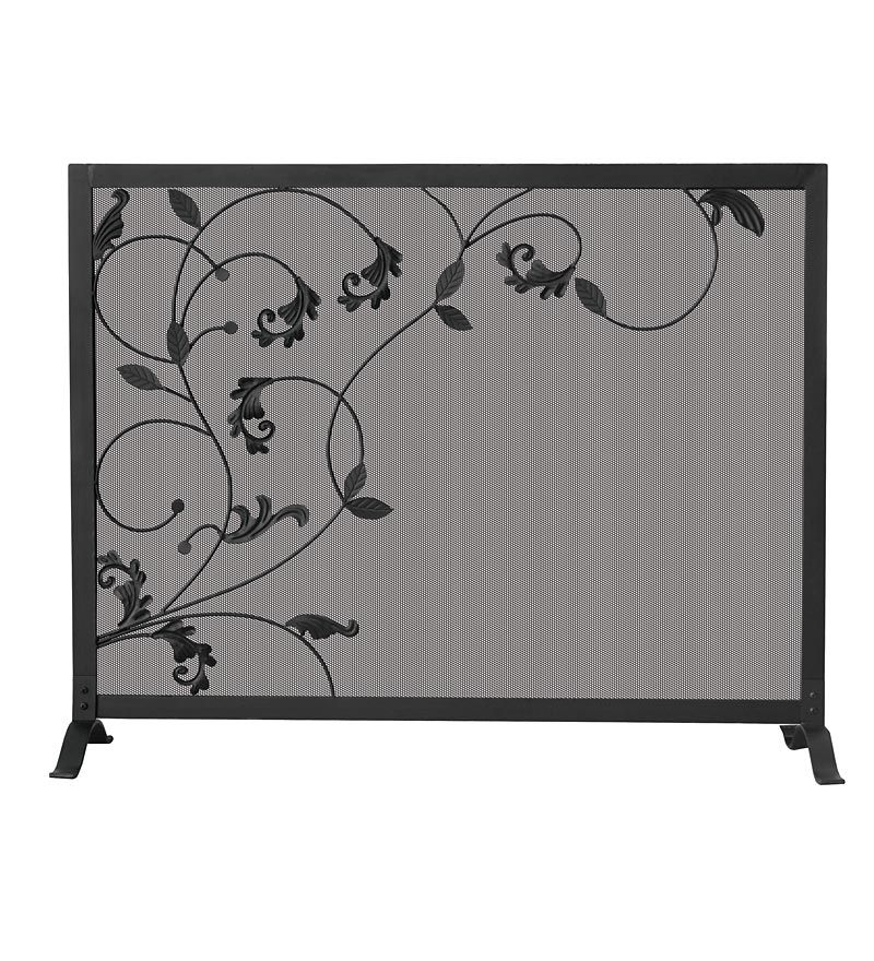 black iron fireplace screen. Black Wrought Iron Single Panel Fireplace Screen With Flowing Leaf Design
