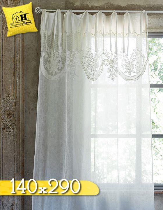 Tenda Shabby chic Lino Blanc Mariclo 140 x 290 cm Colore Ecru ...