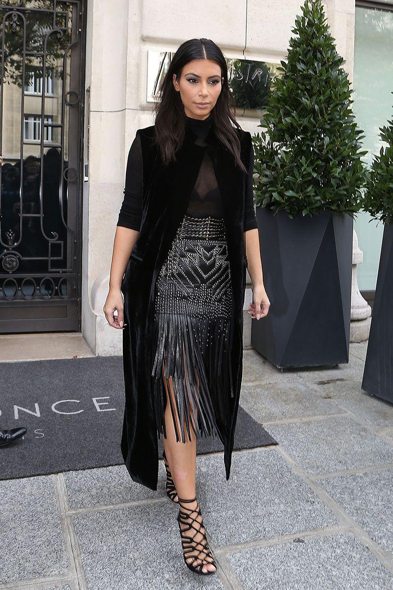 Los mejores looks de Kim Kardashian 2014. Pollera Roberto Cavalli