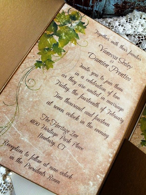 Vintage Ivy Wedding Invitation SAMPLE por AVintageObsession en Etsy