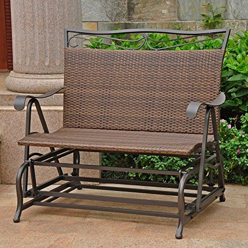 International Caravan Valencia Wicker Outdoor Glider Loveseat You Can Get More Details By Clicking Outdoor Glider Patio Rocking Chairs Glider Rocking Chair