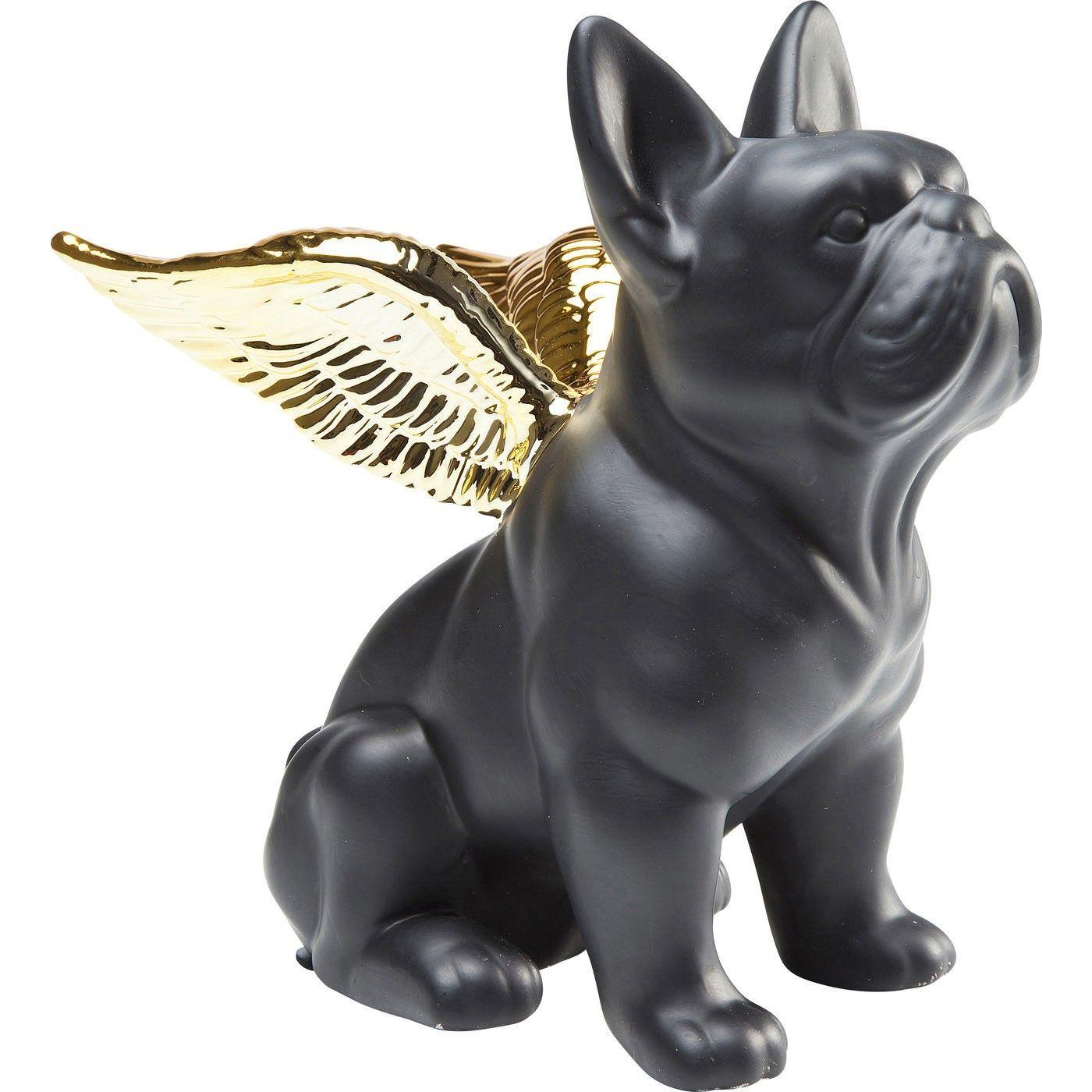 Deko Figur Sitting Angel Dog Gold Schwarz Kare Design Deko Schwarz