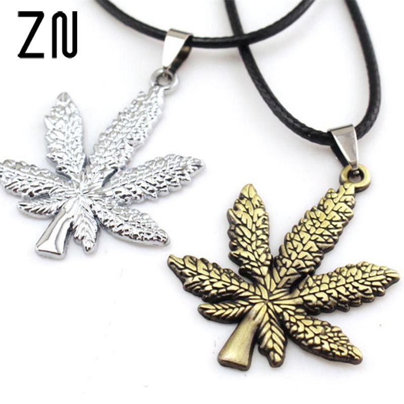 Silver Marijuana Leaf Necklace Pot Leaf Cannabis Charm Jewelry NEW