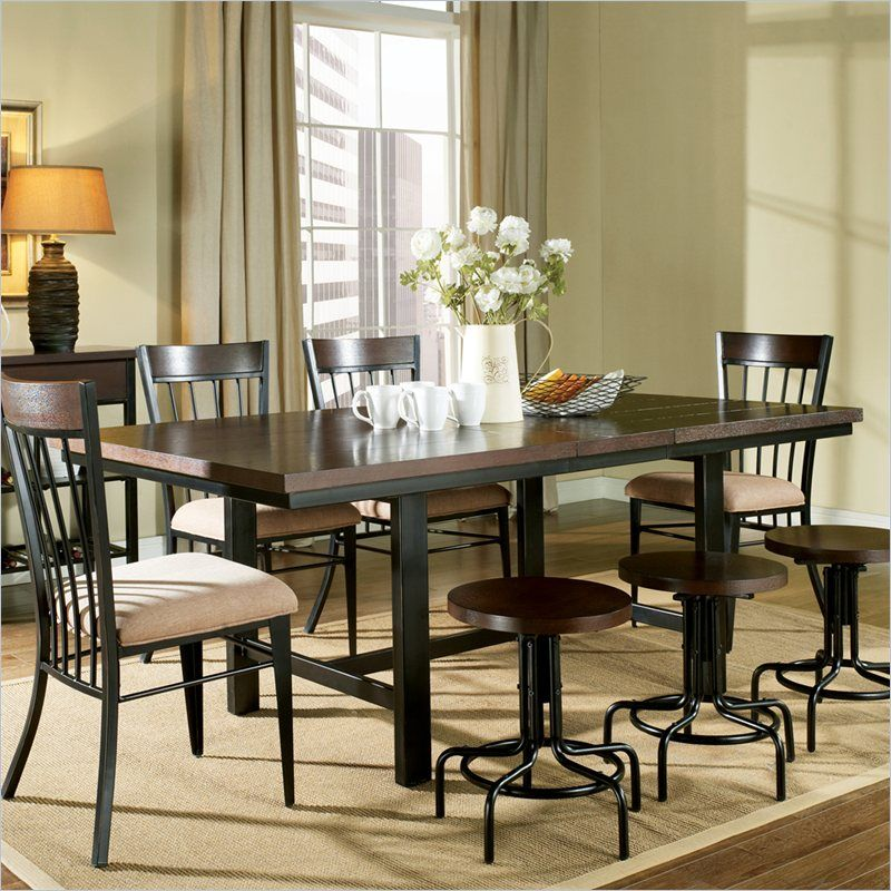 Steve Silver Company Crosby 8 Piece Rectangular Dining Table Set In Black Metal And Espresso