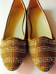 6edc73bdf Women Tan Rhinestone Ruby Flat Shoes Slipons Sz 8 Soft Comfortable Footwear
