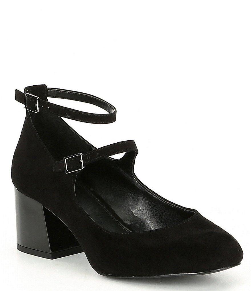 c97c0c1dfba GB Total-Class Leather Suede Ankle Strap Block Heel Dress Pumps ...