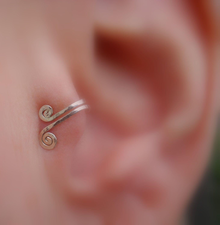 Nose and ear piercing  Tragus Cuff  Sterling Silver Spirals  Nose Cuff  Ear Cuff  Fake