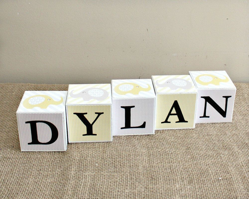 Baby name cube personalized name letter blocks baby shower baby name cube personalized name letter blocks baby shower gift elephant theme nursery negle Gallery