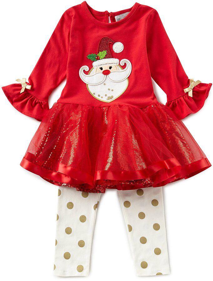 rare editions little girls 2t 6x christmas santa face tutu dress dotted leggings set