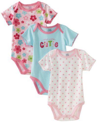 0fd6da33a Gerber Baby-Girls Newborn 3 Pack Cutie Bodysuit