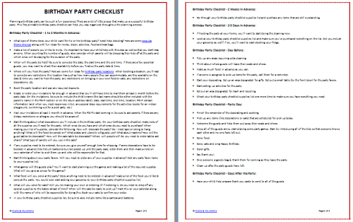 Printable Birthday Party Checklist Free  Birthday Party