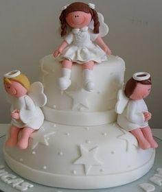 tortas de comunion para nina con angeles