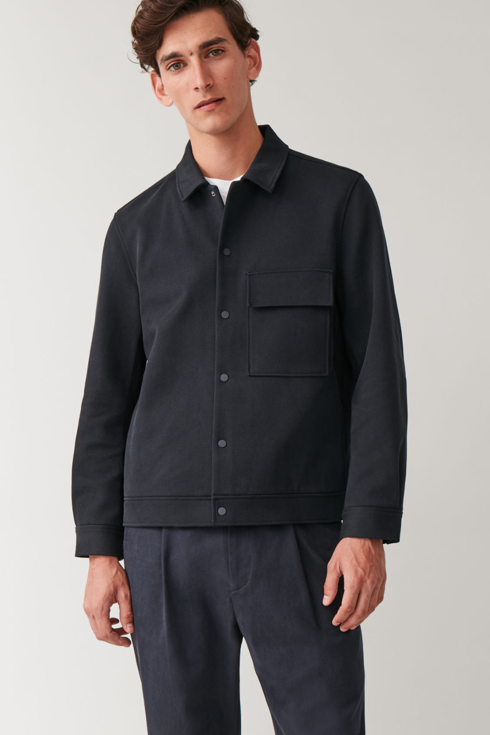 COTTON TWILL SHIRT JACKET Midnight blue Coats and