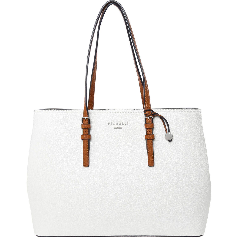 Fiorelli White & Navy Grained Shopper Bag.