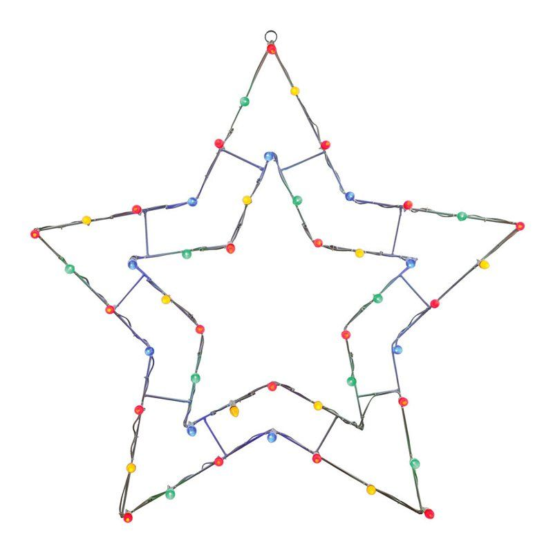 Vickerman 48 in. Multi Colored LED 5 Point Star Silhouette