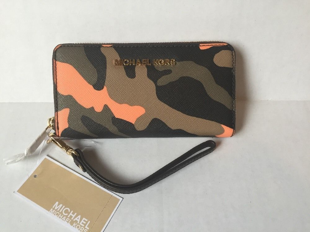4d37355c56d4 Michael Kors MK Jet Set Travel Large Coin Phone Case Wristlet Wallet Poppy  Camo | eBay