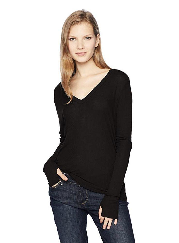 4b388a441ad1e ENZA COSTA Long Sleeve Baby Rib Loose Silk V-Neck Tee Shirt Top Black M