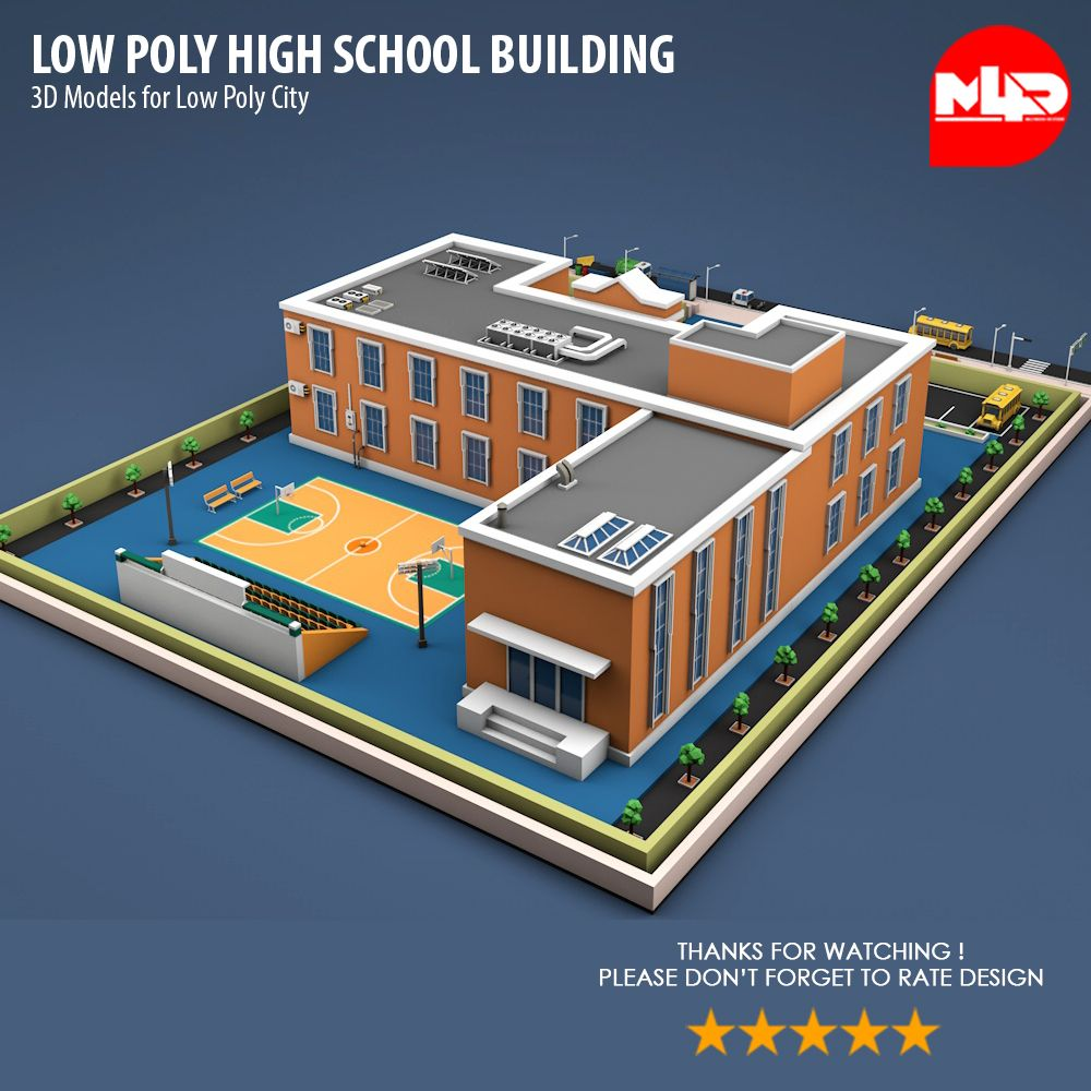 Low Poly High School Building High, Poly, Building,