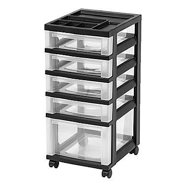 Staples Plastic 5 Drawer Organizer, Black And Clear (116865)