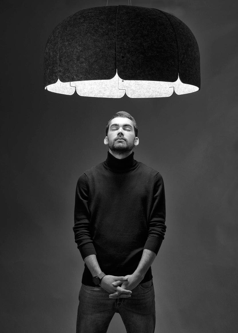 Lámpara 70% reciclada gris oscura y claro MUTE LED detalle