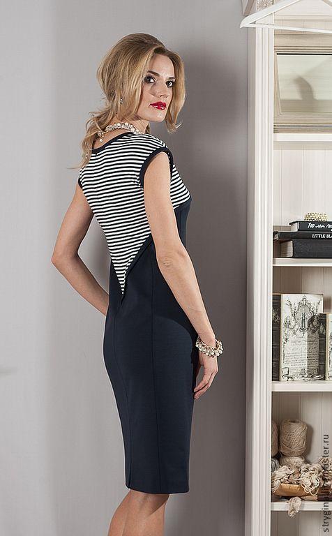 Купить Платье Marina - тёмно-синий, в полоску, морской стиль, морская тема, стрыгина, strygina