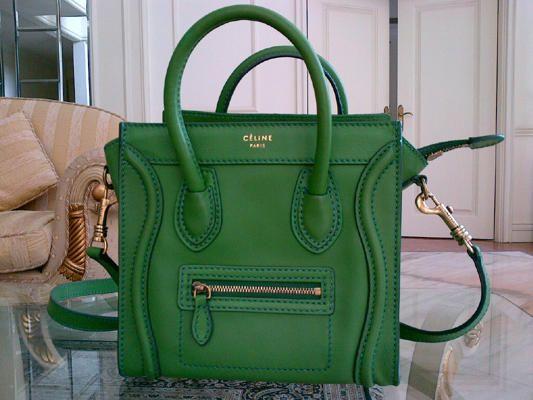 d5ce7336410d Celine Nano luggage apple green.