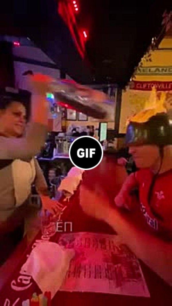#funny #man #bartender #spade #helmet #head #fire