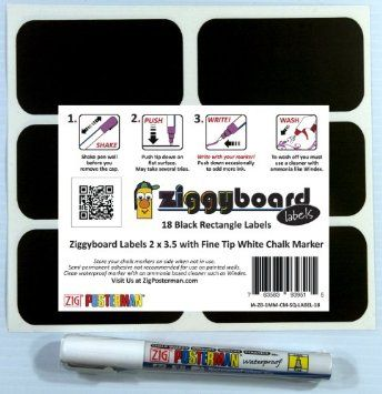 Amazon.com: Ziggyboard Chalkboard Labels with Fine Tip White Chalk Marker 2x3.5 inches 18 rectangle shape stickers: Home & Kitchen