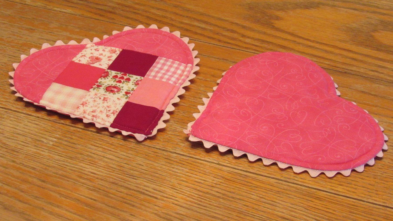 Heart Pot Holder, Valentine Hot Pad by QueenBeeStitcheryTX on Etsy