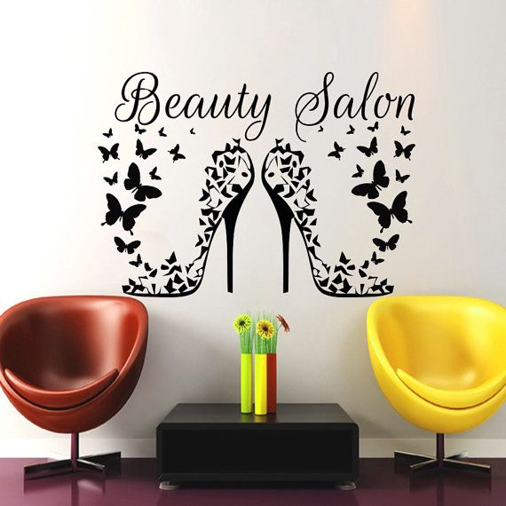 Hair Salon Wall Art Beauty Decal Barbershop Hairdressing Heels ...