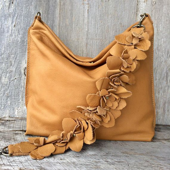 4ac102ded18e Leather Bag in Soft Butterscotch Caramel Designer Leather with Detachable  Flower Shoulder Strap - Slouchy - Handmade - by Stacy Leigh