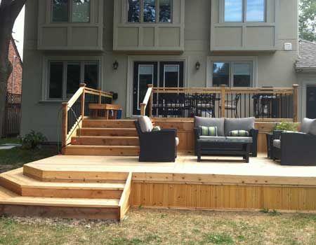 Cedar deck toronto we offer great exterior wood carpentry for 2 level deck designs