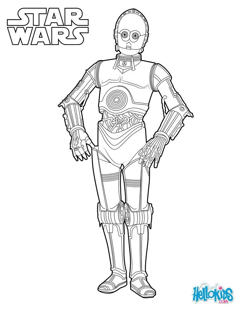 C3PO coloring page More Star Wars coloring sheets on