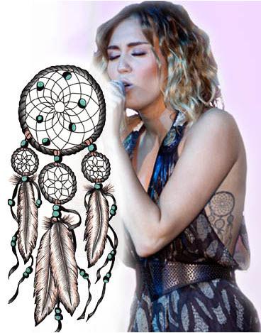 Resultado de imagen de miley cyrus tatuaje de atrapasueños