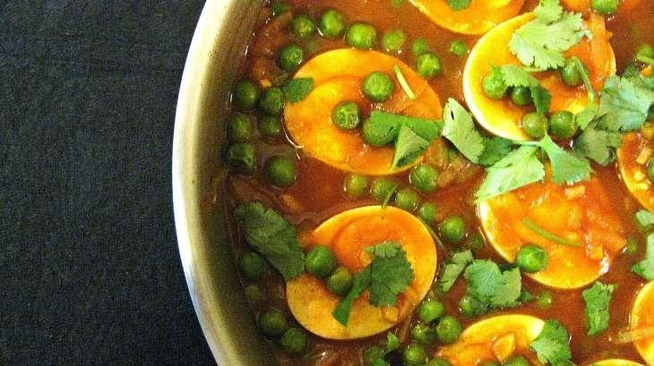 Curry d'oeufs durs aux pois verts - Recettes indiennes..