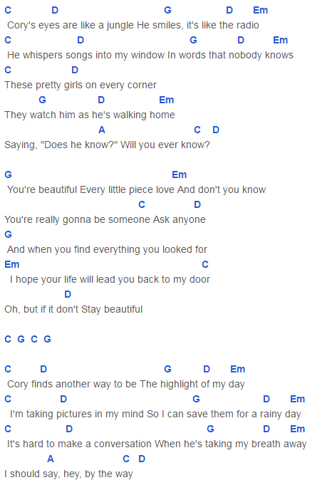 Stay Beautiful Chords Capo 1 Taylor Swift Songs Pinterest