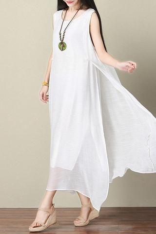 5a8bbc006a4f White Silk Linen Dress Summer Women Dress Q3103A