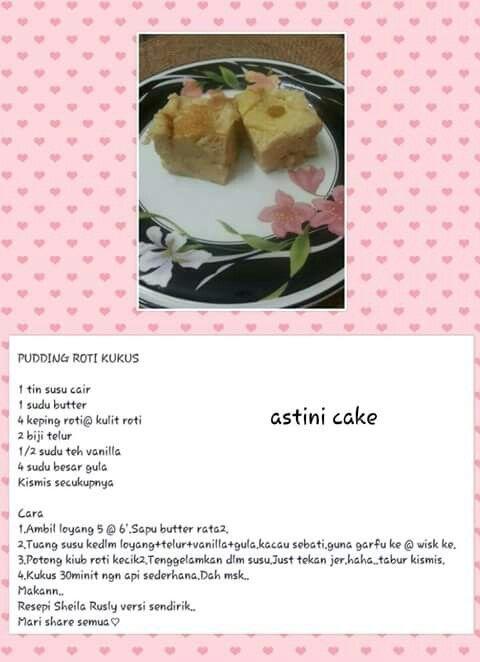 Puding Roti Kukus Roti Recipes Agar