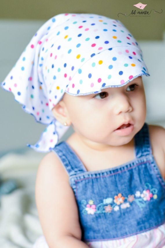 364ca5ee toddler/baby girl summer hat with polka dots, baby headscarf, baby bandana,  baby head wrap, baby sun