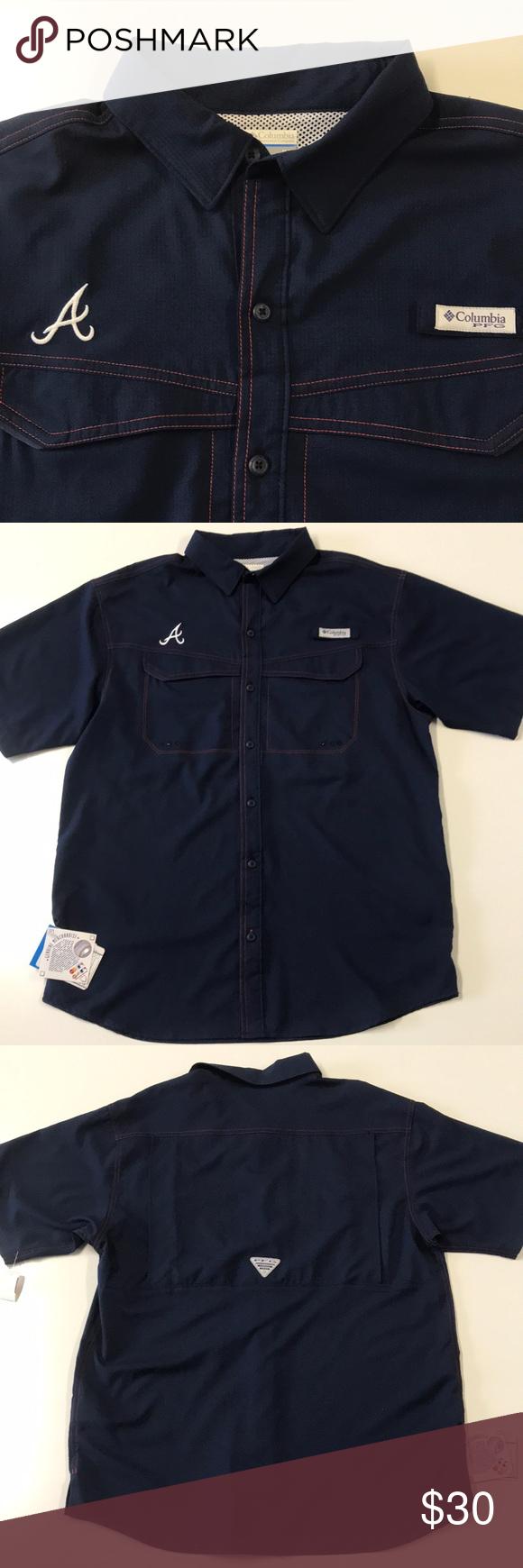 best service 9ae7d a6970 COLUMBIA PFG - ATLANTA BRAVES - BLUE Fishing Shirt NWT ...