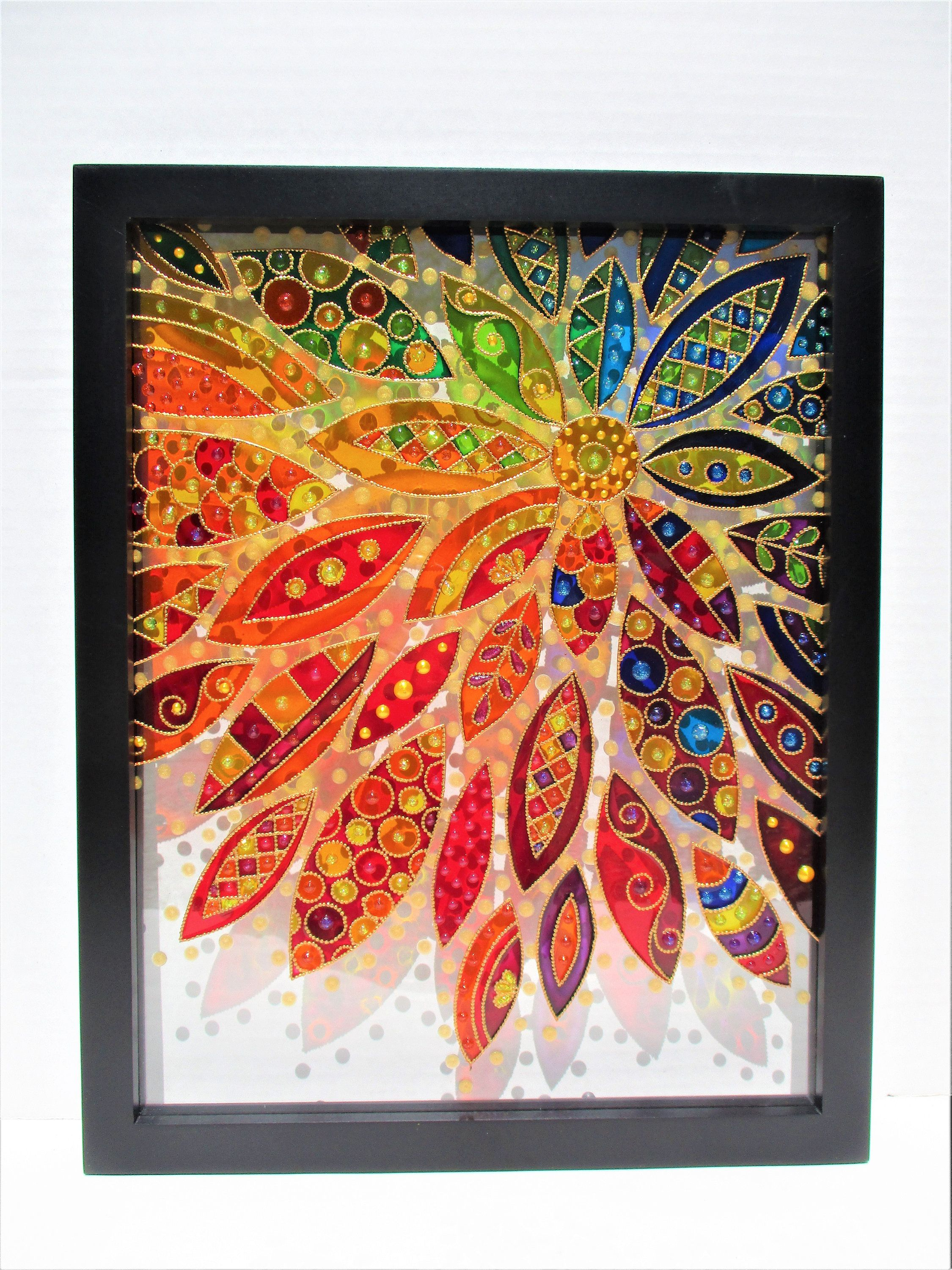 Abstract Flower Art 15x12 Glass Painting Bohemian Decor Abstract Flower Art Lotus Art Flower Art