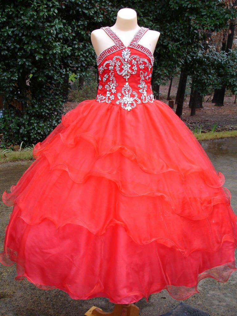 ball gowns for girls | ... Color Organza Straps Red Ball Gown ...