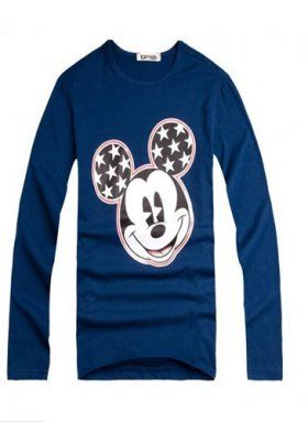 Blue Cotton Round Neck Mickey Mouse Print Men's Shirts