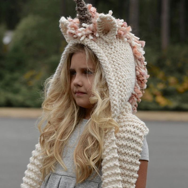 unicorn hat with scarf kids Unicorn scarf cap 2 in 1 Girls Infant Warm Knitted  Hats Winter Beanie Children Wool Knitted caps-in Scarf 8733003e5282
