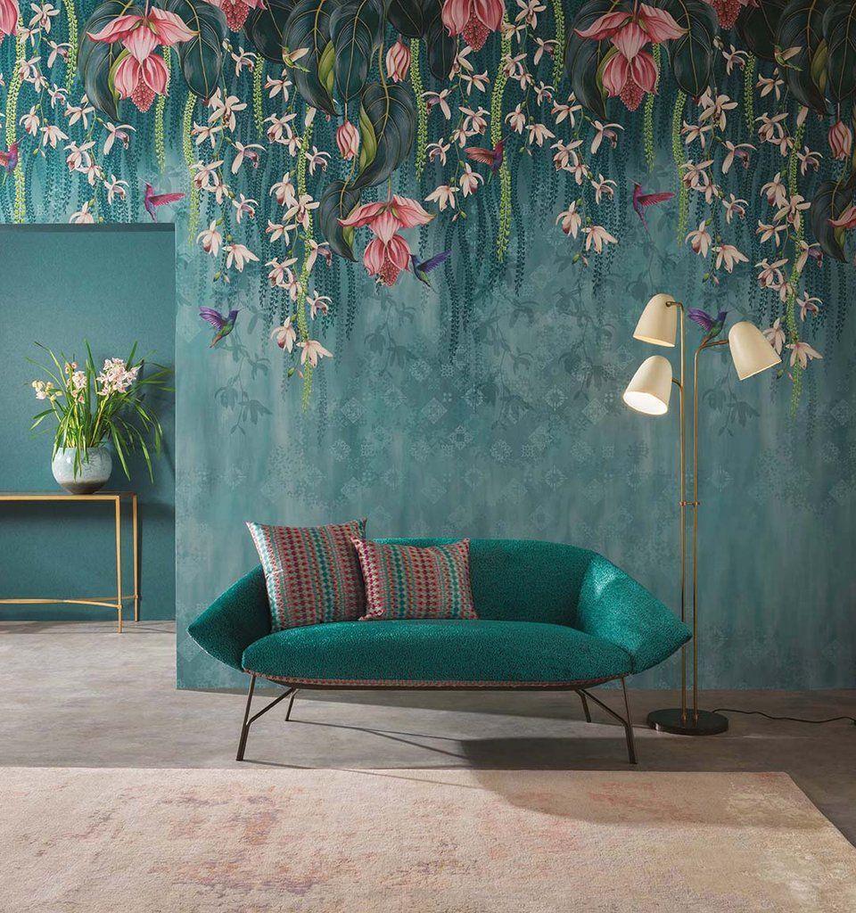 Trailing Orchid Wall Mural In Teal And Pink From The Folium Collection Trailing Orchid Wall Mu Oturma Odasi Fikirleri Yatak Odasi Dekorasyon Fikirleri Dekor